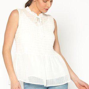 Pleione BNWT smocked sleeveless baby doll blouse L